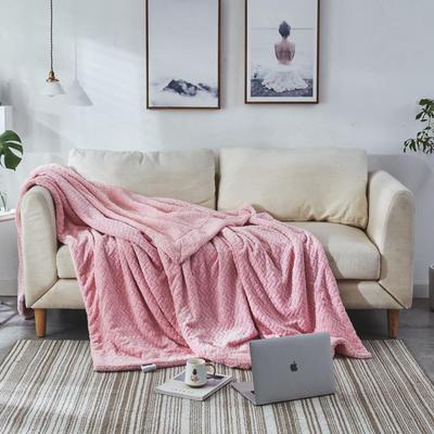 来菲毛毯2019新品加厚双层秋冬绒毯保暖毯子纯色铺盖沙发床用多功能 100*120cm 童粉