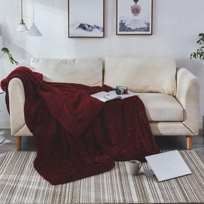 来菲毛毯2019新品加厚双层秋冬绒毯保暖毯子纯色铺盖沙发床用多功能 100*120cm 童红