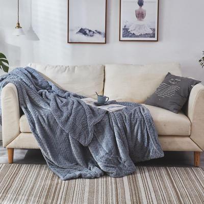 来菲毛毯2019新品加厚双层秋冬绒毯保暖毯子纯色铺盖沙发床用多功能 100*120cm 童灰