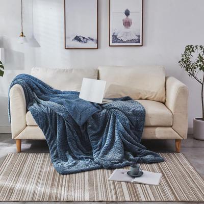 来菲毛毯2019新品加厚双层秋冬绒毯保暖毯子纯色铺盖沙发床用多功能 100*120cm 童蓝