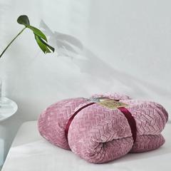 来菲2018年秋冬新款立体提花法兰绒加羊羔绒毛毯双层毯子 1.5米 青豆沙