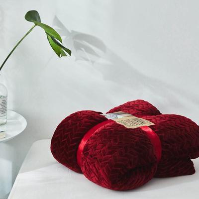 来菲20年秋冬新款立体提花法兰绒加羊羔绒毛毯双层毯子麦穗绒盖毯 1.5*2.0米 青红