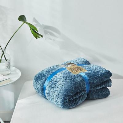 来菲20年秋冬新款立体提花法兰绒加羊羔绒毛毯双层毯子麦穗绒盖毯 1.5*2.0米 青蓝