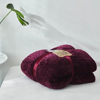 来菲20年秋冬新款立体提花法兰绒加羊羔绒毛毯双层毯子麦穗绒盖毯 1.5*2.0米 青紫