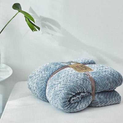 来菲20年秋冬新款立体提花法兰绒加羊羔绒毛毯双层毯子麦穗绒盖毯 1.5*2.0米 青灰