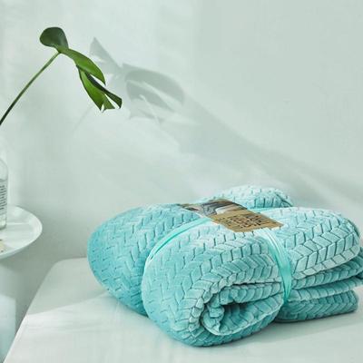 来菲20年秋冬新款立体提花法兰绒加羊羔绒毛毯双层毯子麦穗绒盖毯 1.5*2.0米 青薄荷