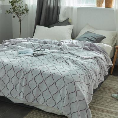 来菲外贸触控剪花奢华毛毯提花纯色毯子加厚出口保暖毛毯多功能毯子 150cmx200cm 波纹
