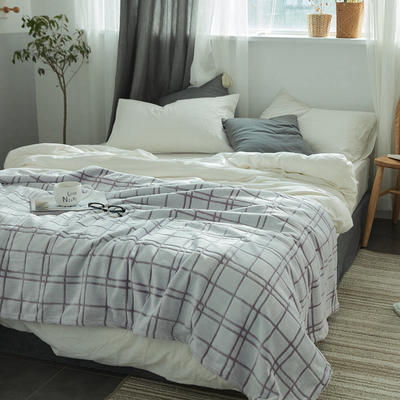 来菲外贸触控剪花奢华毛毯提花纯色毯子加厚出口保暖毛毯多功能毯子 150cmx200cm 方格