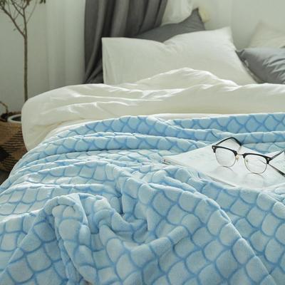 来菲外贸触控剪花奢华毛毯提花纯色毯子加厚出口保暖毛毯多功能毯子 150cmx200cm 海浪