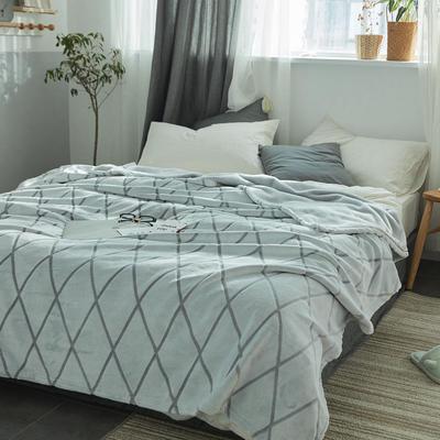来菲外贸触控剪花奢华毛毯提花纯色毯子加厚出口保暖毛毯多功能毯子 150cmx200cm 菱形