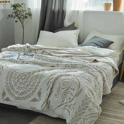 来菲外贸触控剪花奢华毛毯提花纯色毯子加厚出口保暖毛毯多功能毯子 150cmx200cm 水滴