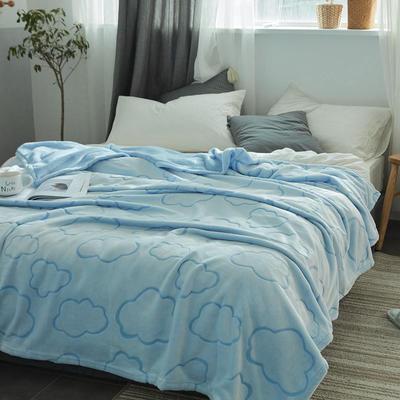 来菲外贸触控剪花奢华毛毯提花纯色毯子加厚出口保暖毛毯多功能毯子 150cmx200cm 云朵