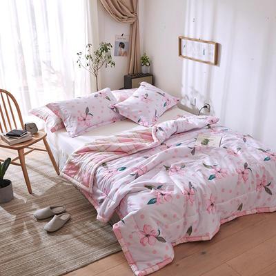 2019春夏全棉夏被来菲印花夏凉被正反纯棉舒适多花色 枕套74*47cm/只 漫天花雨