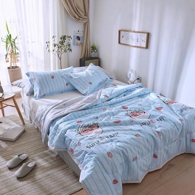 2019春夏全棉夏被来菲印花夏凉被正反纯棉舒适多花色 枕套74*47cm/只 甜蜜爱恋-蓝