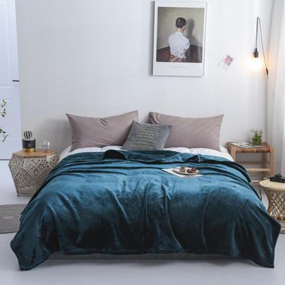来菲2019新款科技暖绒500系列毛毯加厚纯色外贸出口奢华绒毯多功能 1.0*1.5米 孔雀绿