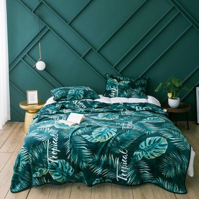 活动款新款270克云貂绒毛毯印花卡通绒毯多规格盖毯可搭配枕套 100cmx120cm 斑波(龟背竹)