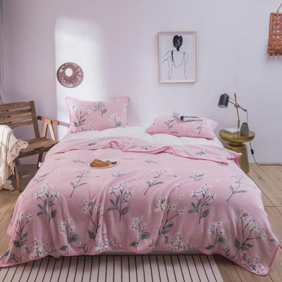活动款新款270克云貂绒毛毯印花卡通绒毯多规格盖毯可搭配枕套 100cmx120cm 芙拉(花朵