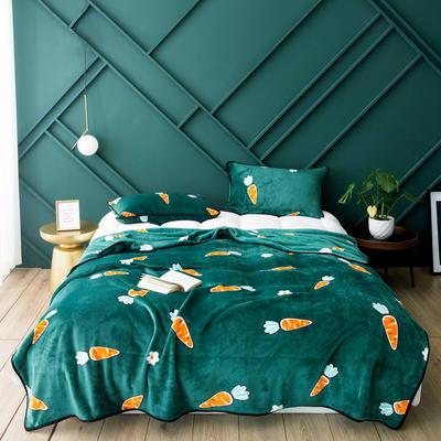 活动款新款270克云貂绒毛毯印花卡通绒毯多规格盖毯可搭配枕套 100cmx120cm 凯瑞特(胡萝卜)