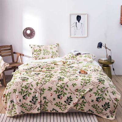 活动款新款270克云貂绒毛毯印花卡通绒毯多规格盖毯可搭配枕套 100cmx120cm 丽芙(树叶)