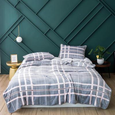 活动款新款270克云貂绒毛毯印花卡通绒毯多规格盖毯可搭配枕套 100cmx120cm 斯凯尔(格子)