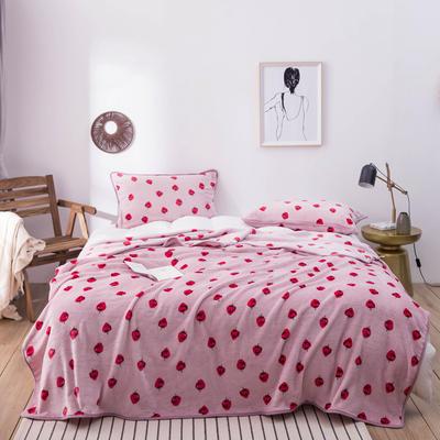 活动款新款270克云貂绒毛毯印花卡通绒毯多规格盖毯可搭配枕套 100cmx120cm 小草莓