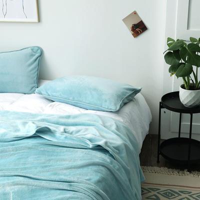 来菲家纺加厚金貂绒保暖枕套 拉链枕头套素色双拼 单只 74*48/只 薄荷绿