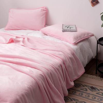 来菲家纺加厚金貂绒保暖枕套 拉链枕头套素色双拼 单只 74*48/只 粉色