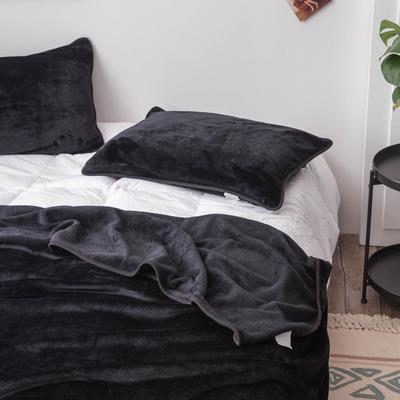 来菲家纺加厚金貂绒保暖枕套 拉链枕头套素色双拼 单只 74*48/只 黑色