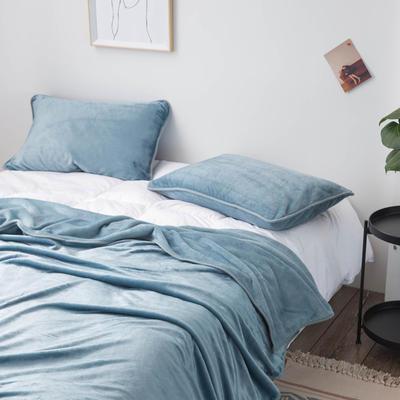 来菲家纺加厚金貂绒保暖枕套 拉链枕头套素色双拼 单只 74*48/只 灰蓝色