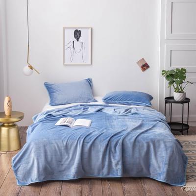 经典爆款来菲毯业320克金貂绒毛毯纯色加厚法莱绒毯子素色盖毯毯子多用 120*200cm 水蓝