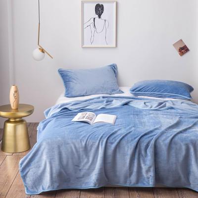 320克金貂绒纯色毛毯20新款加厚毯子沙发毯保暖毯子素色来菲经典款 100*120 天蓝