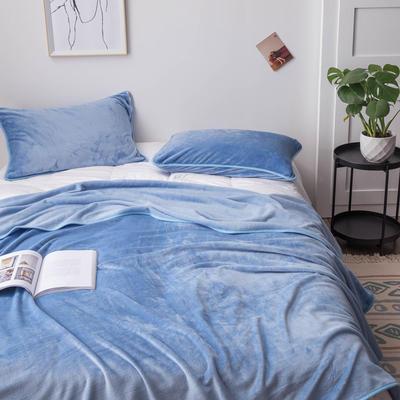 来菲家纺加厚金貂绒保暖枕套 拉链枕头套素色双拼 单只 74*48/只 水蓝色