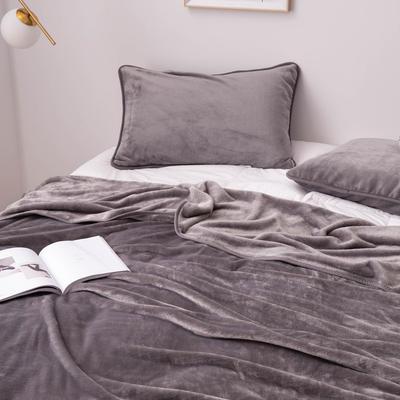 来菲家纺加厚金貂绒保暖枕套 拉链枕头套素色双拼 单只 74*48/只 灰色