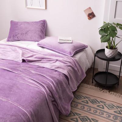 来菲家纺加厚金貂绒保暖枕套 拉链枕头套素色双拼 单只 74*48/只 紫色