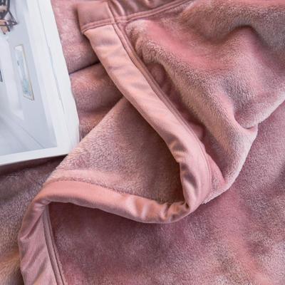 毛毯毯子400克紫貂绒来菲家纺纯色珊瑚绒素色法莱绒法兰绒盖毯床单1.8KG 150*230cm 淡山茱萸粉