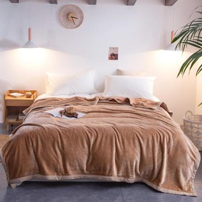 来菲毛毯2019新款紫貂绒加厚保暖毯子400克重外贸批发绒毯纯色盖毯爆款 150cmx230cm 法式香草驼