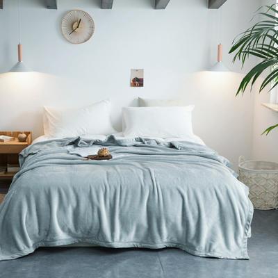 毛毯毯子400克紫貂绒来菲家纺纯色珊瑚绒素色法莱绒法兰绒盖毯床单1.8KG 150*230cm 港湾迷雾银