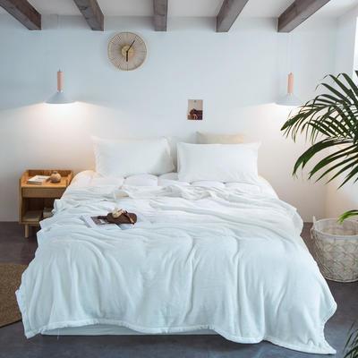 毛毯毯子400克紫貂绒来菲家纺纯色珊瑚绒素色法莱绒法兰绒盖毯床单1.8KG 150*230cm 霍普珍珠白