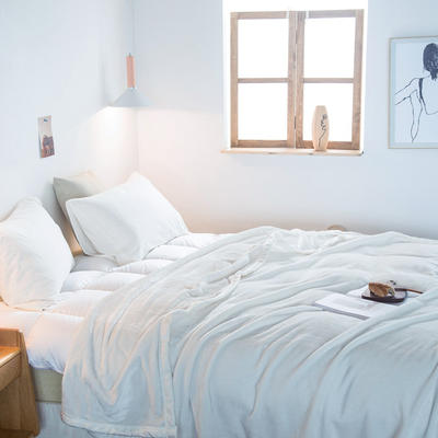 来菲家纺加厚纯色毯子秋冬盖毯400克紫貂绒毛毯1.8公斤KG足重 200*230cm 霍普珍珠白