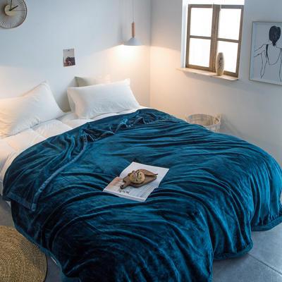 毛毯毯子400克紫貂绒来菲家纺纯色珊瑚绒素色法莱绒法兰绒盖毯床单1.8KG 150*230cm 明成釉彩蓝