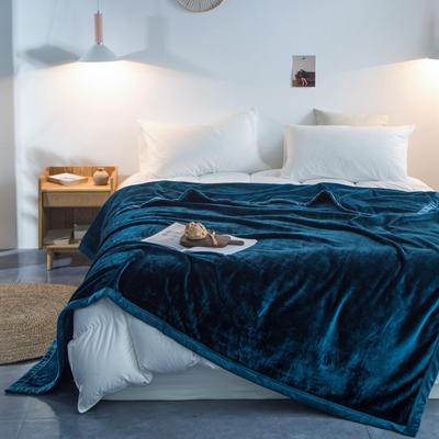 来菲家纺加厚纯色毯子秋冬盖毯400克紫貂绒毛毯1.8公斤KG足重 200*230cm 明成釉彩绿