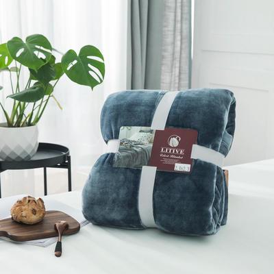 来菲毛毯20紫貂绒加厚保暖毯子400克重外贸批发绒毯纯色盖毯爆款1.8KG 150cmX230cm 尼亚加拉蓝