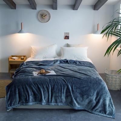 来菲毛毯2019新款紫貂绒加厚保暖毯子400克重外贸批发绒毯纯色盖毯爆款 150cmx230cm 尼亚加拉蓝