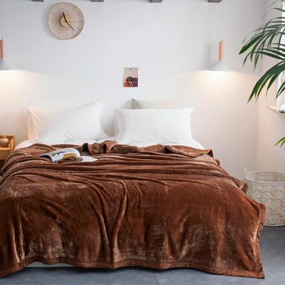 来菲毛毯2019新款紫貂绒加厚保暖毯子400克重外贸批发绒毯纯色盖毯爆款 150cmx230cm 圣地亚哥咖
