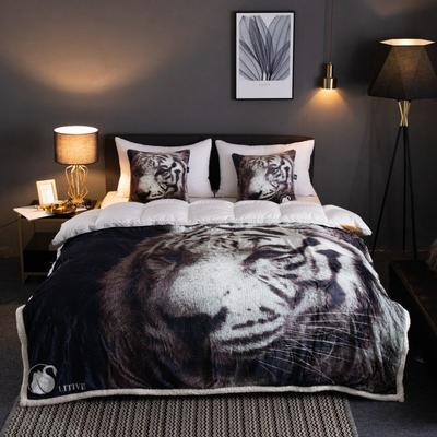 来菲2019新款数码印花羊羔绒双层加厚秋冬毛毯外贸动物个性毯子礼物盖毯 150cmx200cm 白老虎