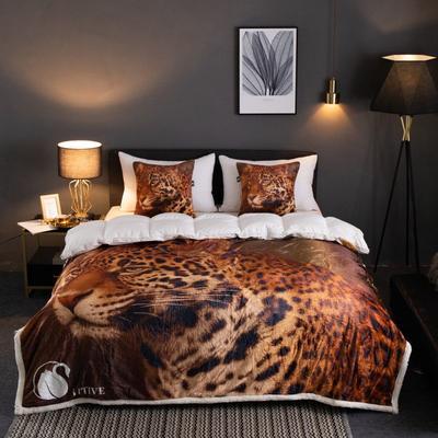 来菲2019新款数码印花羊羔绒双层加厚秋冬毛毯外贸动物个性毯子礼物盖毯 150cmx200cm 猎豹