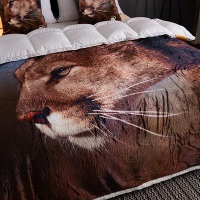 来菲数码印花羊羔绒双层加厚秋冬毛毯外贸动物个性毯子礼物盖毯毛毯 150cmx200cm 猎豹