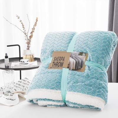 20新款双面不同色3D提花麦穗羊羔绒毯加厚冬季毛毯纯色毯子 150*200cm 青薄荷