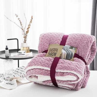 20新款双面不同色3D提花麦穗羊羔绒毯加厚冬季毛毯纯色毯子 150*200cm 青豆沙
