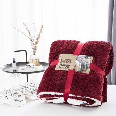 20新款双面不同色3D提花麦穗羊羔绒毯加厚冬季毛毯纯色毯子 150*200cm 青红